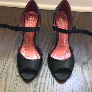 Black peep toe heels with ankle strap